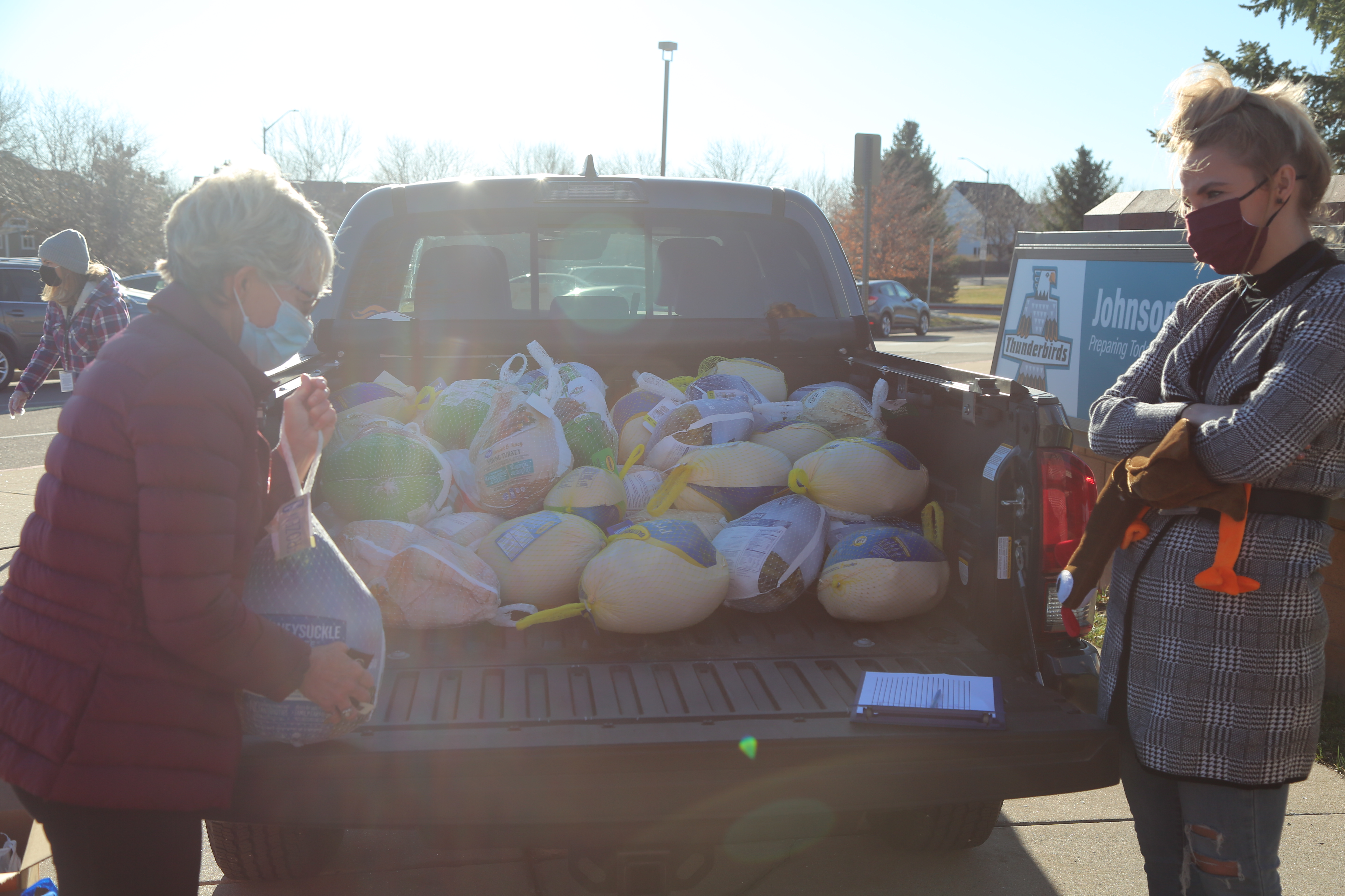 Turkey donation for turkey round up in truck