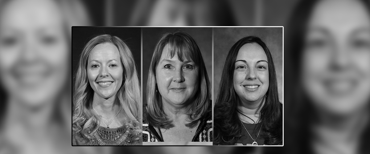 Three head shots of female teachers who won Rotary Teacher of the Month awards.