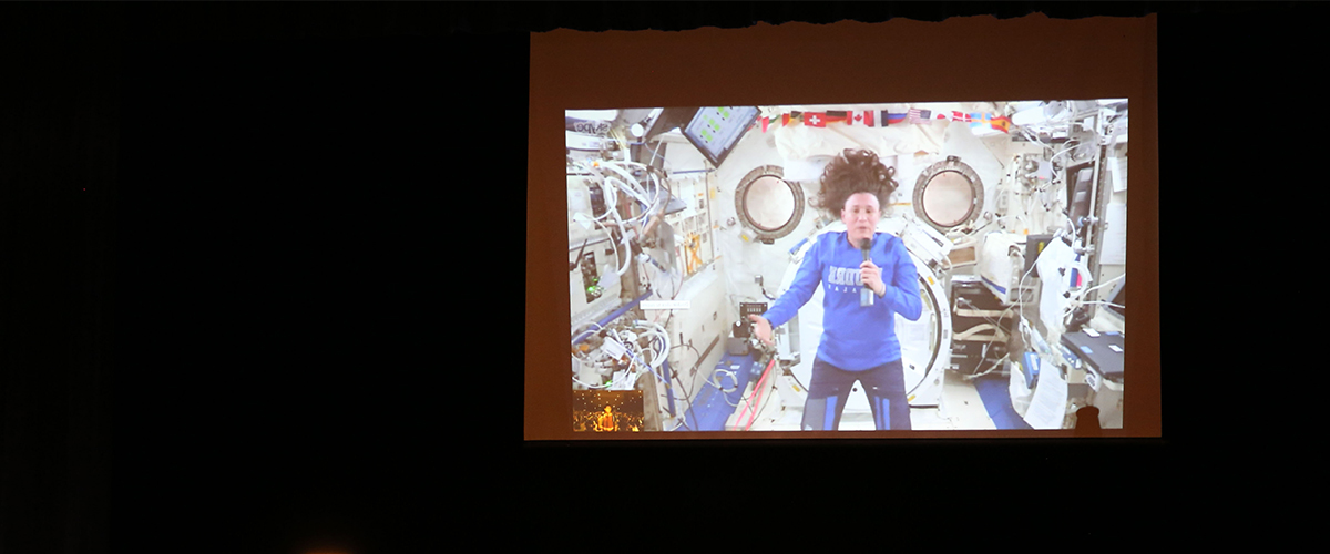 Video Screen of PHS Astronaut at the International Space Station