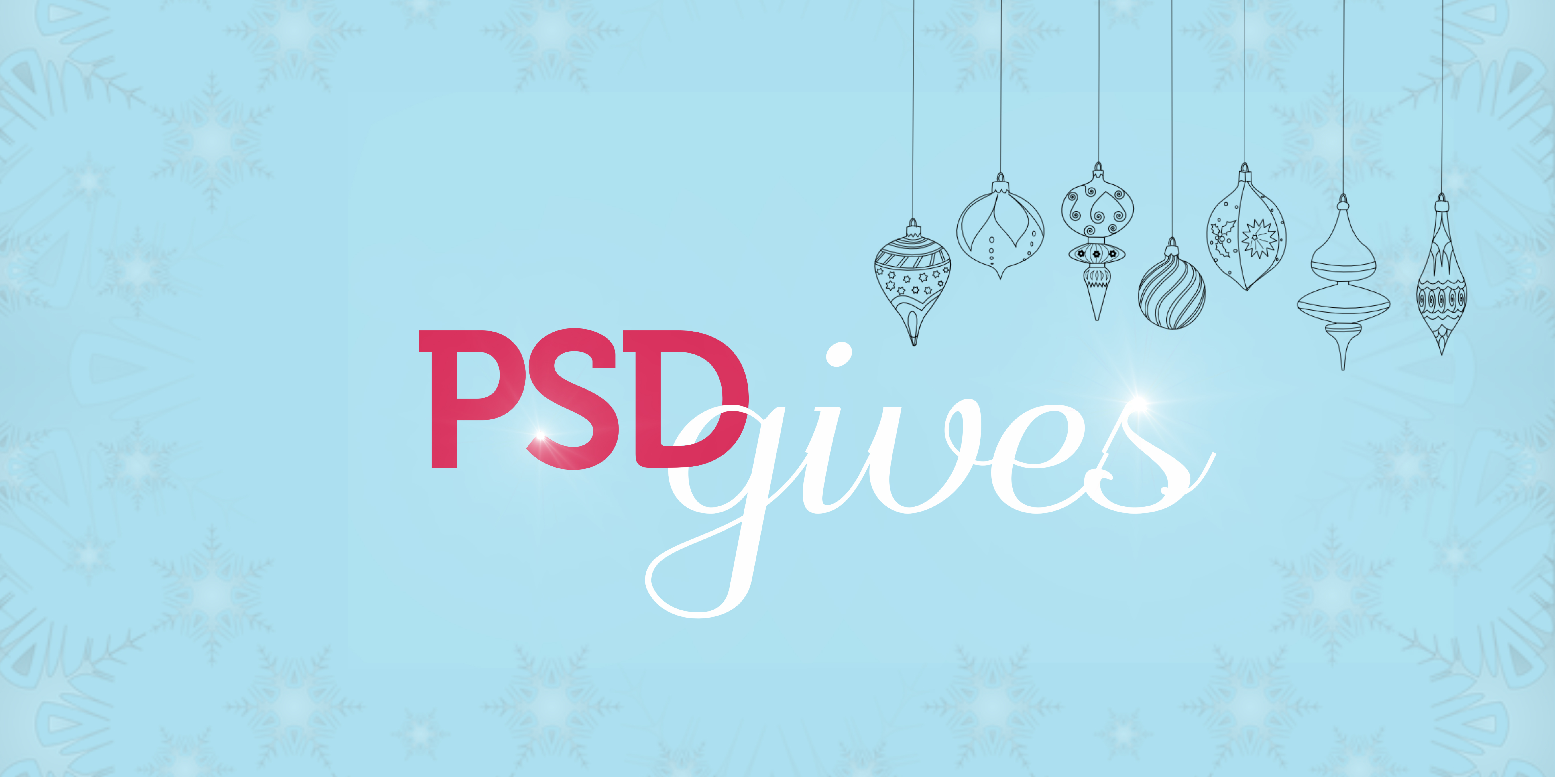 """The words """"PSD Gives"""" with delicate drawings of ornaments hanging."""