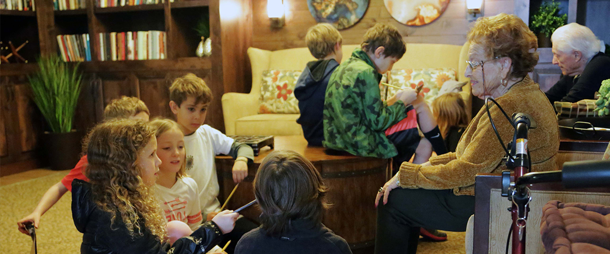 Johnson Elementary students read to seniors at Morning Star Residential Home.
