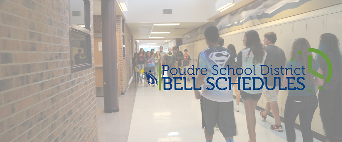 High school students walk down a school hallway. The words PSD Bell Schedules are on the image.
