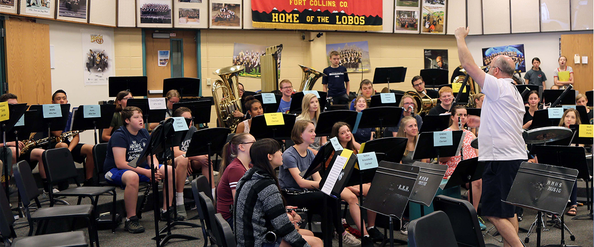 High school music students in the band room at Rocky Mountain High School.