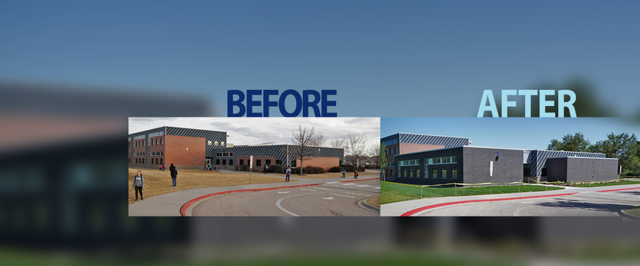Zach Elementary image showing before and after construction photos of the school