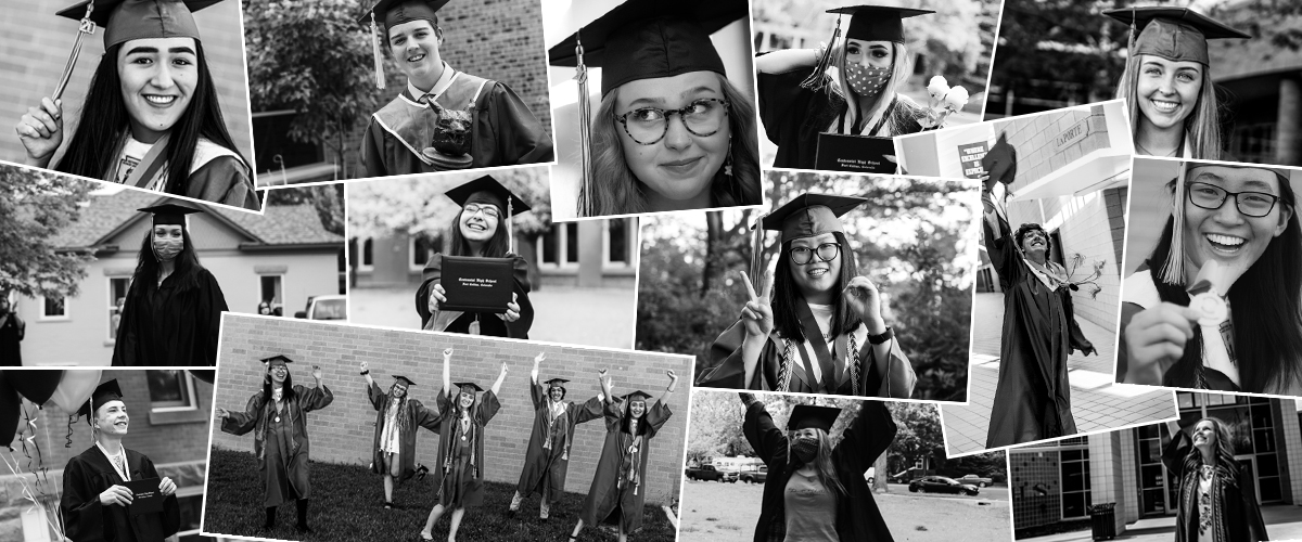 Collage of several photos with Class of 2020 graduates