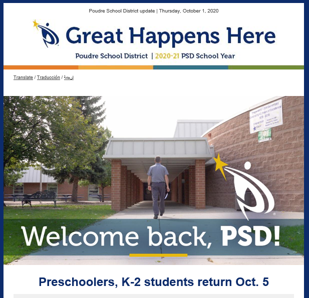 Screenshot of Oct. 1 GHH welcoming back students to school.