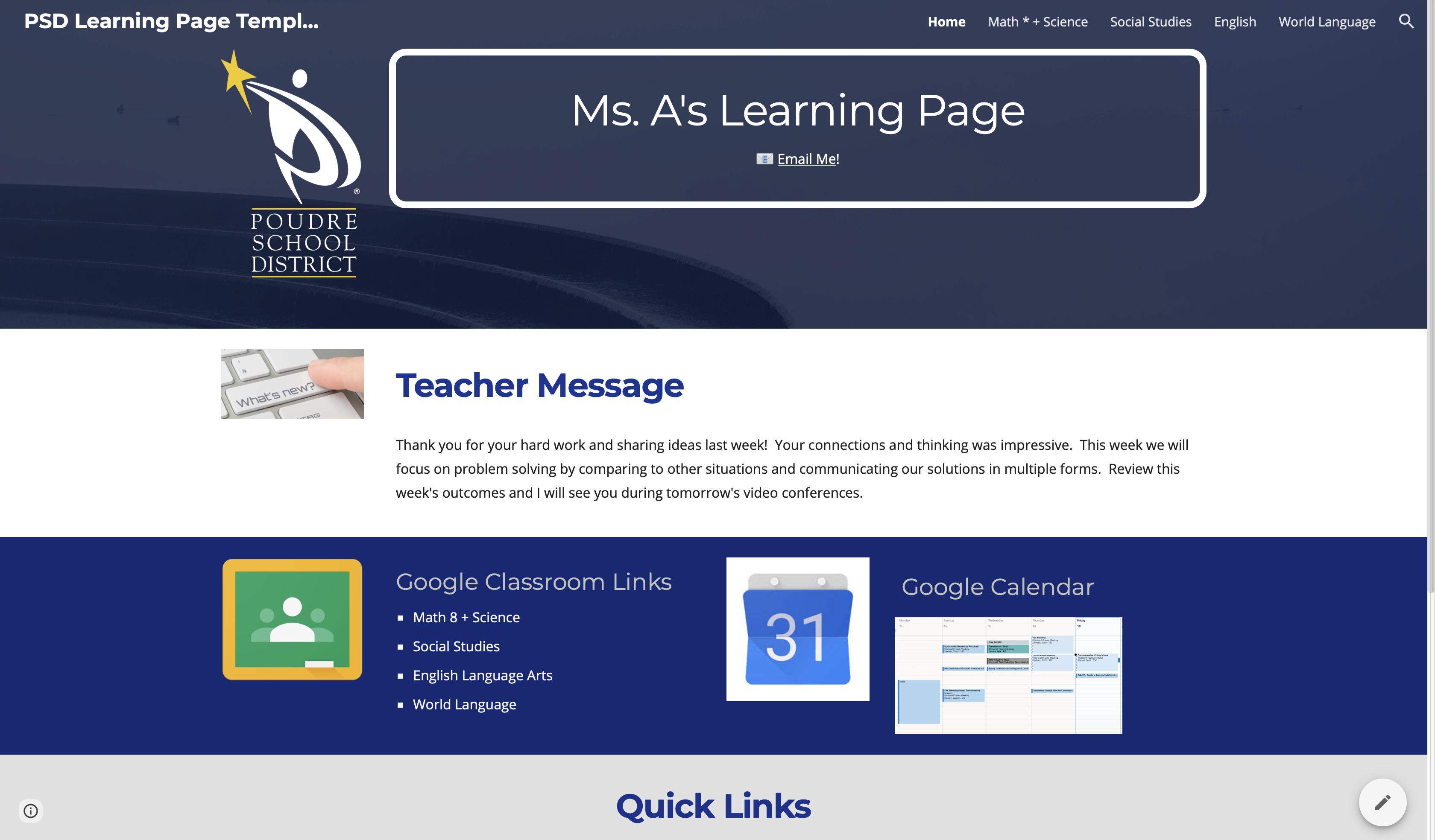 Screenshot of an online teacher landing page in PSD.