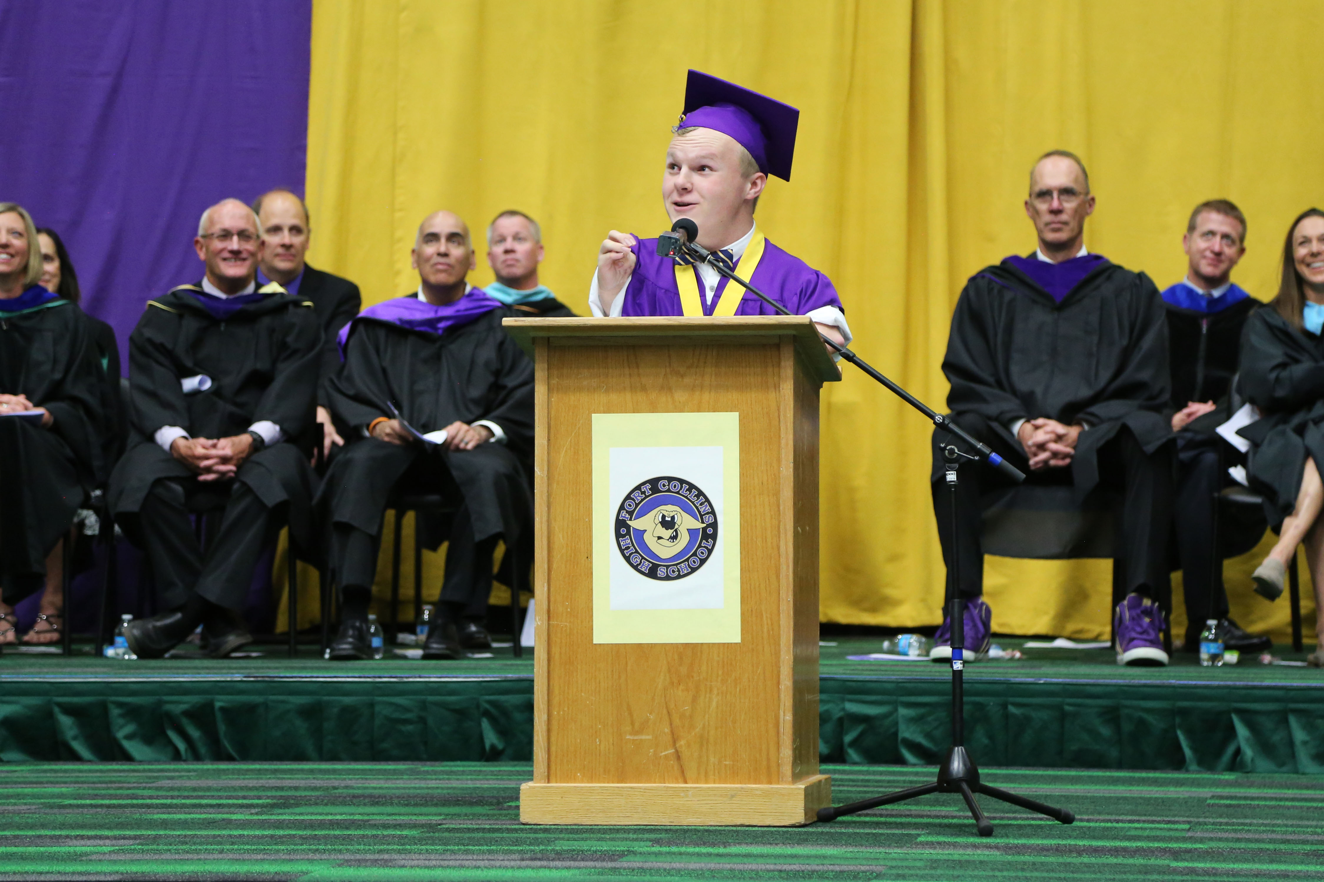 A FCHS graduate gives a speech.