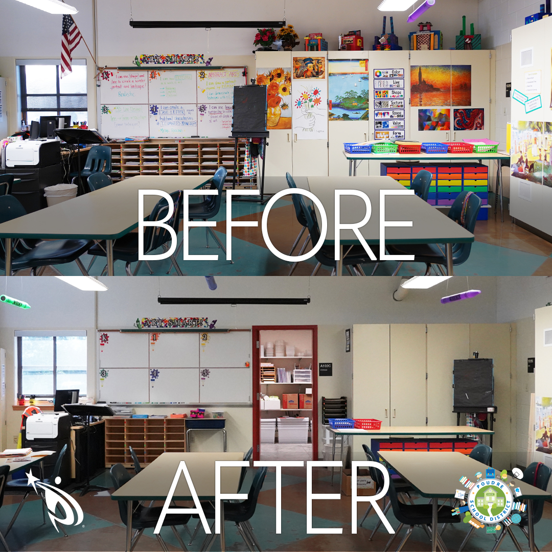 Zach Elementary before and after construction image.