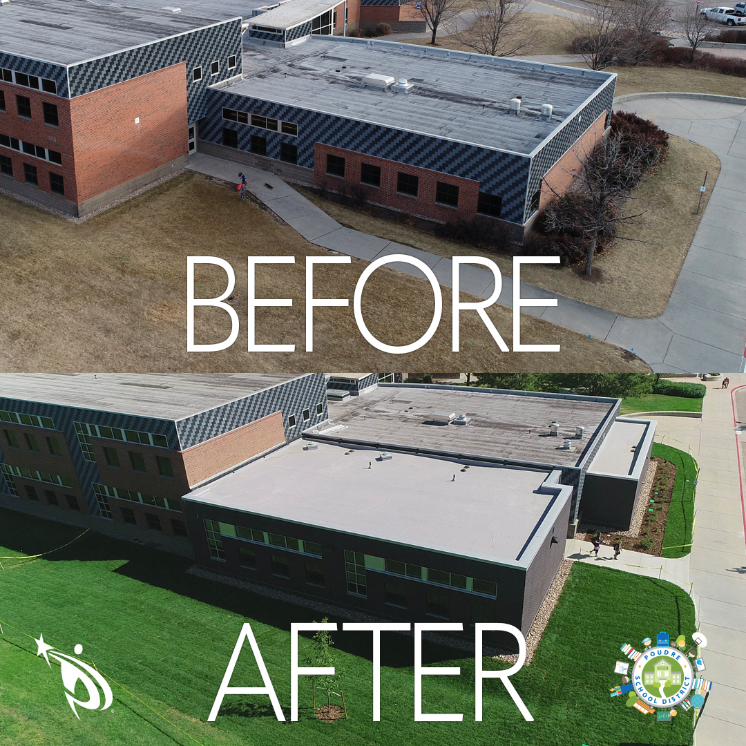 Zach Elementary before and after construction image from the sky.