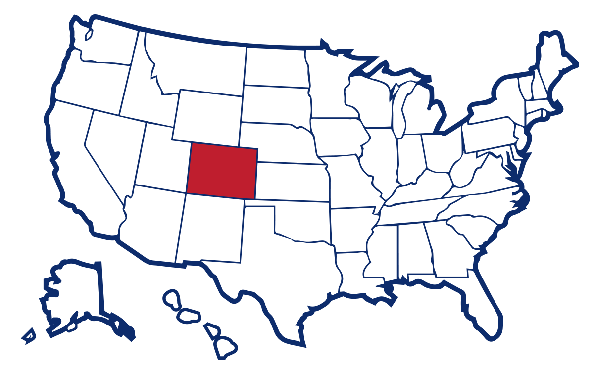 Map of the United States with Colorado highlighted.