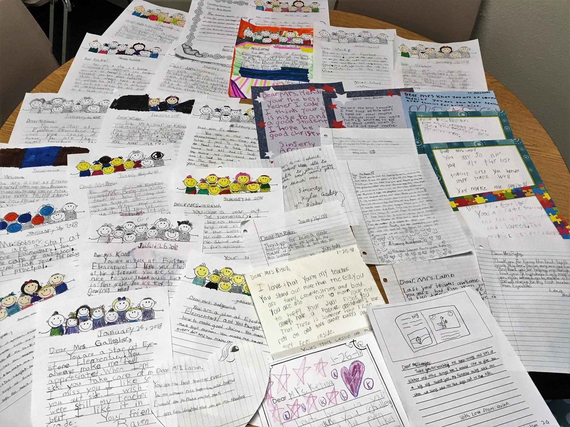 Photo Of A Lot Thank You Notes From Students