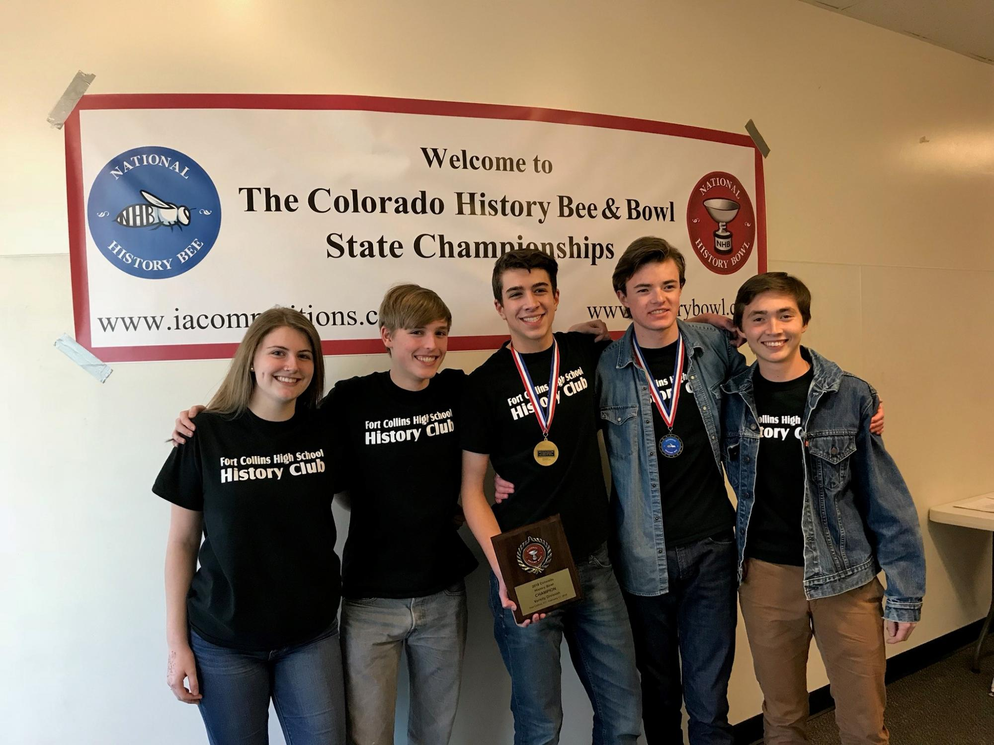 Members of the FCHS History Bowl pose together at the state competition
