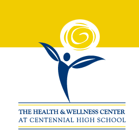 CHS Health  Center logo of a yellow sun with a blue outline of a person.
