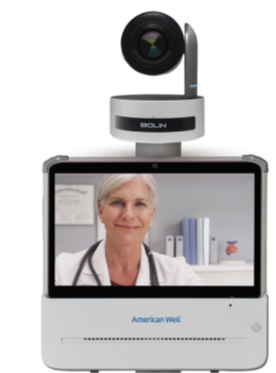 Computer screen showing physician through telehealth virtual care services.