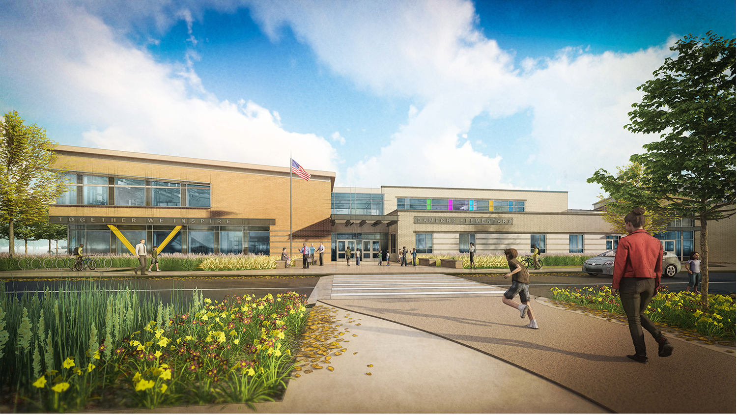 A rendering of the new Bamford Elementary school.
