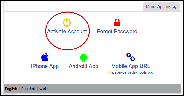 Screenshot of Activate Your Account prompt on ParentVUE.