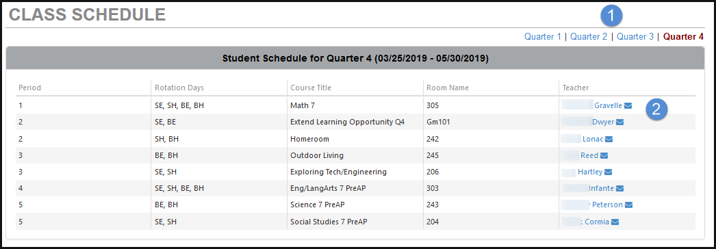 Screenshot of ParentVUE class schedule section.