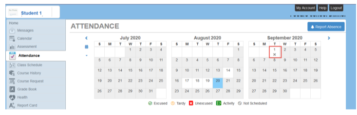 Screenshot showing an X on the date of the absence.