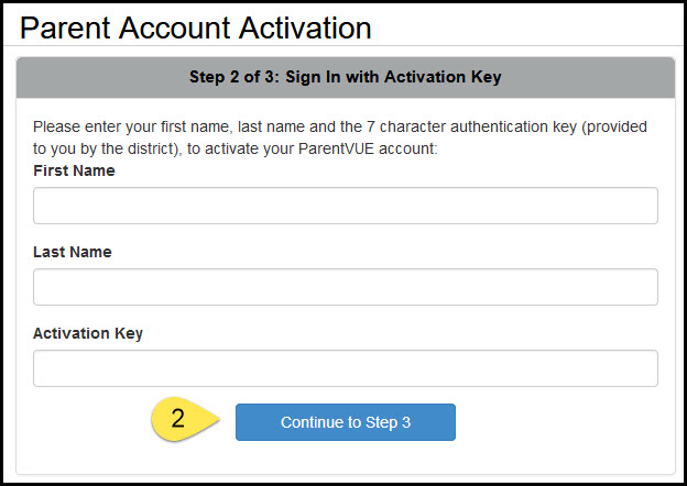 Screensbot of Parent Account Activation Sign In page.