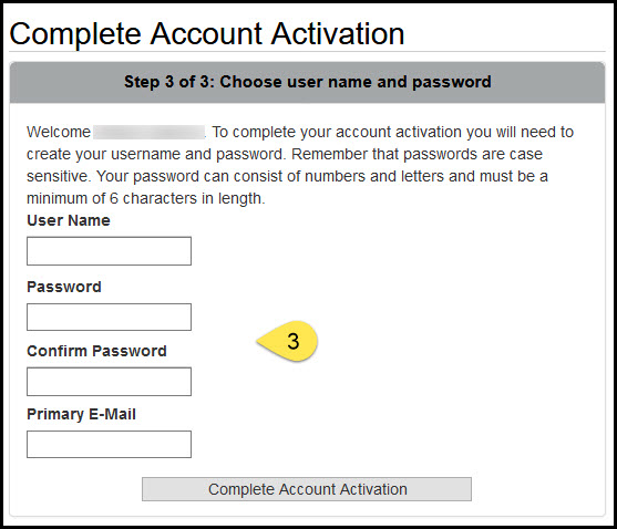 Screenshot of choosing a user name and password web page.