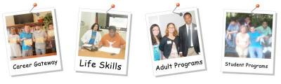 "Words of ""careers, life skills, adult and student programs"" written on Polaroid graphic images."