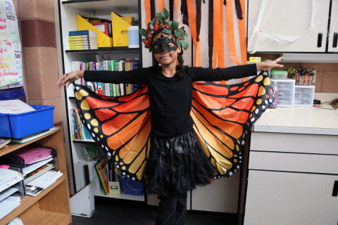 A student dressed up as a butterfly.