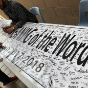 Banner with signatures of Fort Collins students pledging not to use hate speech.