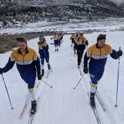 PSD Nordic skiers ski on tracks.