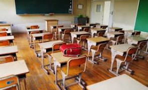 Classroom with empty desks.