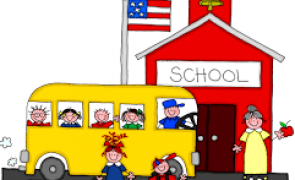 School house and school bus graphic