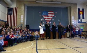 Naturalization ceremony in the Dunn Elementary gym