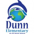 Dunn Elementary logo of a dolphin jumping over the world
